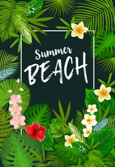 Summer vacation poster with tropical palm leaves