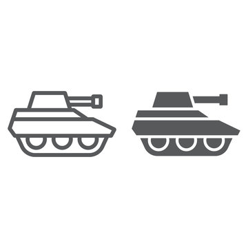 Military tank line and glyph icon, war and army, vehicle sign, vector graphics, a linear pattern on a white background.
