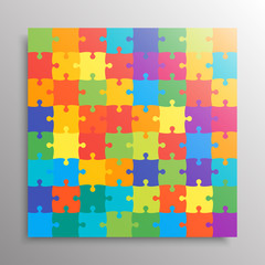 The Color Pieces Background Puzzle. Jigsaw Banner.