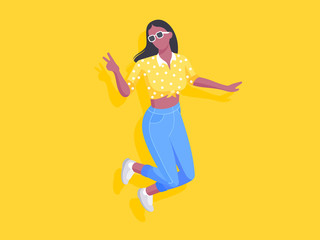 African joyful young woman jumping and showing peace gesture. Vector illustration