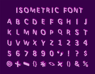 bold colorful isometric pixel 3d font. modern bright uppercase geometric alphabet letters set. stock vector
