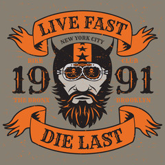 Motorcycle poster with text Live Fast, Die Last
