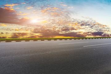 Sky Highway Asphalt Road and beautiful sky sunset scenery