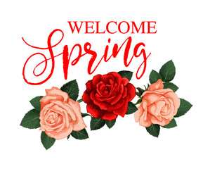 Welcome Spring greeting card with rose flower