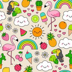 Cute flamingo, fruits, dessert and leaf seamless pattern background. Tropical summer illustration design.