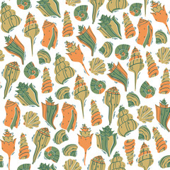Shells Illustration Seamless Pattern in Doodle Style.  Hand Drawn Vector Illustration.