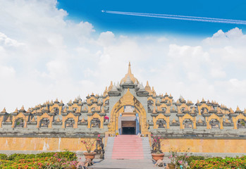 The big sanctuary, temple, culture Borobudur in Roi-et province, Thailand.The public domain made from donation money from people in the village.