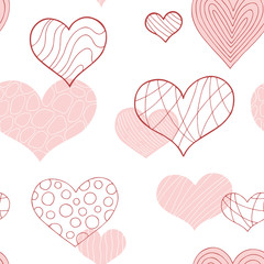 Heart graphic doodle pink red color seamless pattern background illustration vector