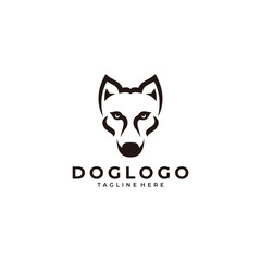 Modern minimalist dog face pet logo icon vector