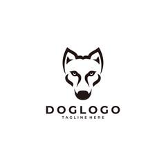 Modern minimalist dog face pet logo icon vector