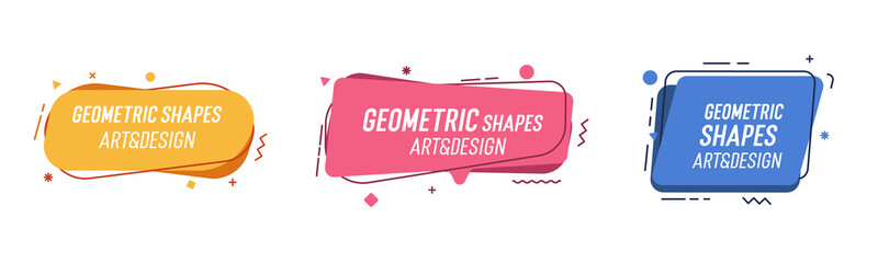 Set of modern organic shapes. Fluid vector trendy elements. Template graphics with geometric speech bubbles and banners with frames to put your own text Wall mural