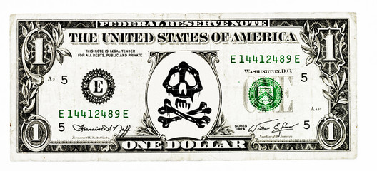 US Dollar with skull and crossbones