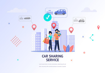 Illustration Happy Family Looking Car for Rent