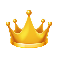 Golden royal crown isolated 3d realistic icon design vector illustration