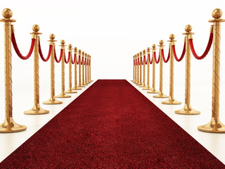 Velvet ropes and golden barriers along the red carpet. 3D illustration