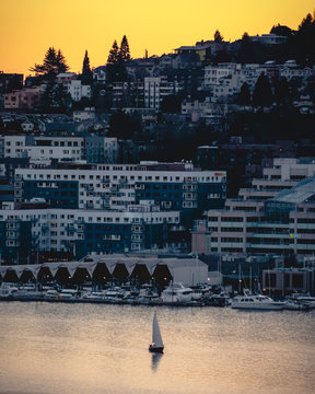Seattle Waterfront Housing View of Sunset Sailboat Adventure