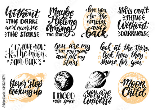 Hand lettering with motivational phrases Moon Child, I Need ...