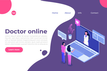 Online doctor consultation. Smart technology in healthcare isometric vector illustration