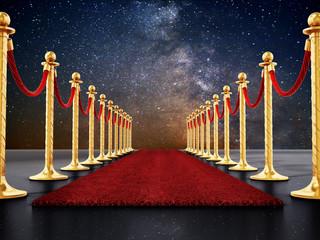 Velvet ropes and golden barriers along the red carpet. 3D illustration