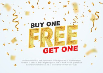 Text Buy one get one free on light background vector illustration. Best offer shopping