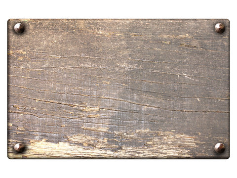 Old wooden plank with vintage nails