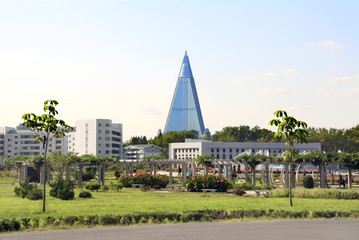 City garden and residential buildings in Pyongyang, North Korea