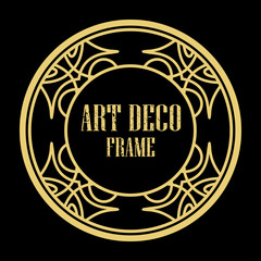 Vector art deco style circle frame. Art-deco decoration for text. Design element for boutique, restaurant, menu and logo template