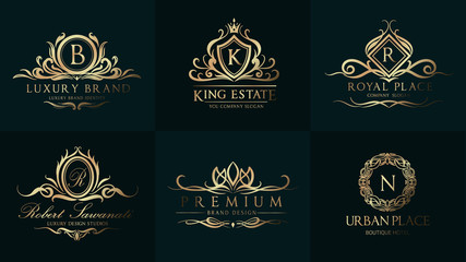 Luxury Wedding Logo with Ornament Baroque style design for invitation and luxurious brand identity and print template.