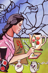 Abstract hand-drawn illustration. Beautiful Asian woman working in her ceramic studio. Stained glass windows with roses. Young girl painting flowers on the pot. Drawing gouache and watercolor.