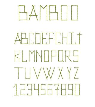 Green bamboo alphabet isolated on white background.