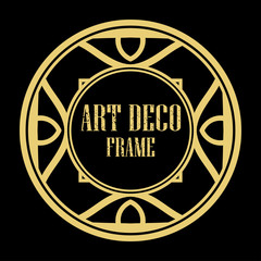 Vector art deco style circle frame. Art-deco decoration for text. Design element for boutique, restaurant, menu and logo template