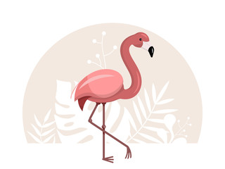 Pink flamingo with tropical leaves on a white background. Vector flat illustration.