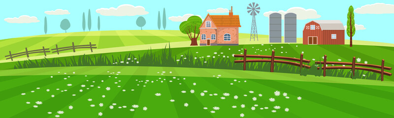 Rural spring landscape countryside with farm field with green grass, flowers, trees. Farmland with house, windmill and hay stacks. Outdoor village scenery, farming background. Vector illustration Wall mural