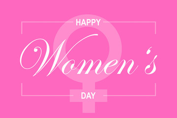 Pink illustration card with text Happy Women's Day