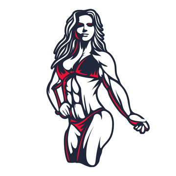 Fitness bikini woman or girl figure silhouette in old engraving vector art illustration or retro vintage emblem stamp isolated on white background Great for sport club logo sign or tshirt design