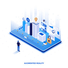 Flat color Modern Isometric Illustration design - Augmented Reality