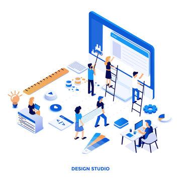 Flat color Modern Isometric Illustration design - Design Studio