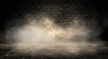 Background of an empty dark room. Empty walls, neon light, smoke, glow