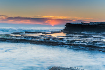 Soft Pinks and Blues - Rock Ledge Sunrise Seascape