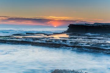 Soft Pinks and Blues - Rock Ledge Sunrise Seascape