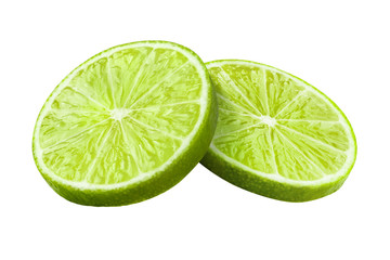 Two slices of green lime, isolated on white background