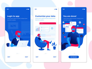Modern user interface UX, UI screen template for mobile smart phone. Onboarding Screens User Interface Kit. Busness, Data analysis app. Vector Illustration