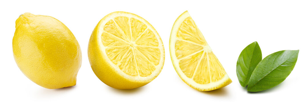 Set of lemons and leaves, isolated on white background