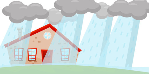Heavy rain flooding living house. Huge gray clouds. Natural disaster. Emergency situation. Flat vector design