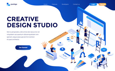 Wall Mural - Modern flat design isometric concept of Creative Design studio for website and mobile website. Landing page template. Easy to edit and customize. Vector illustration