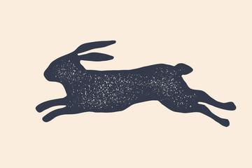 Rabbit, hare, silhouette. Vintage logo, retro print, poster