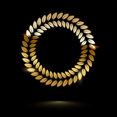 Golden round shiny laurel wreath isolated on black background. Vector design element.