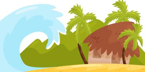 Huge ocean wave near coast of tropical island. Small house on the beach. Tsunami disaster. Natural landscape. Flat vector design