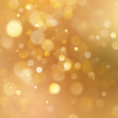 Christmas warm gold background with bokeh light. EPS 10