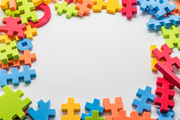 Colorful children's toys, colorful pictures of puzzle pieces on a white background